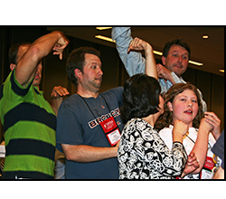 Image of a group of peoplem playing Reverse Charades.